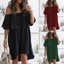 Sexy Ruffle Boat Neck Solid Color Loose Dress