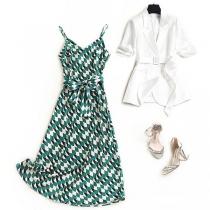 OL Style Half Sleeve Blazer + Sling Printed Dress Two-piece Set