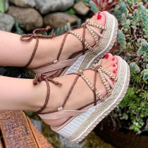 Bohemian Style Thick Sole Open Toe Lace-up Sandals
