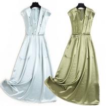 Elegant Solid Color Sleeveless V-neck High Waist Beaded Party Dress