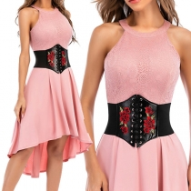 Fashion Flower Embroidery Lace-up PU Leather Girdle