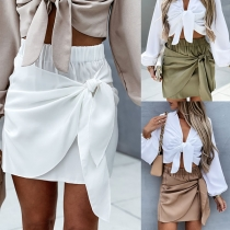 Fashion Solid Color High Waist Lace-up Skirt
