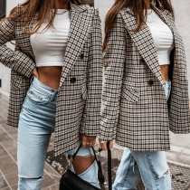 OL Style Long Sleeve Double-breasted Slim Fit Plaid Blazer