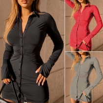 OL Style Long Sleeve PLO Collar Solid Color Slim Fit Wrinkled Shirt Dress