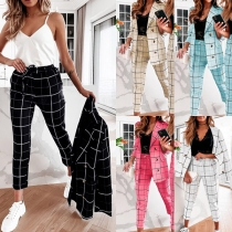 OL Style Long Sleeve Double-breasted Plaid Blazer + Pants Suit Set