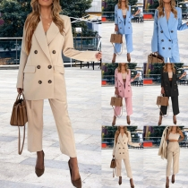 OL Style Double-breasted Solid Color Blazer + Pants Suit Set