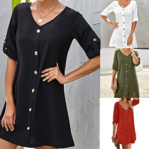 Simple Style Short Sleeve V-neck Front-button Solid Color Dress