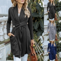 Fashion Solid Color Long Sleeve Lace-up Button Cardigan Coat