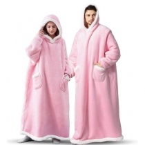 Fashion Contrast Color Long Sleeve Hooded Front-pocket Faux Lamb Wool TV Blanket