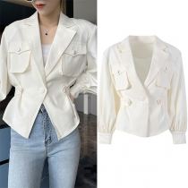 OL Style Lantern Sleeve Single-button Slim Fit Solid Color Jacket