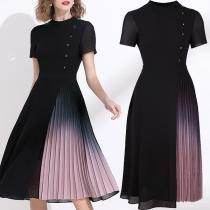 Fashion Short Sleeve Round Neck Color Gradient Pleated Hem Chiffon Dress