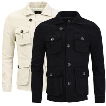 Fashion Solid Color Long Sleeve POLO Collar Multi-pocket Man's Jacket Coat