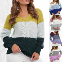 Fashion Contrast Color Long Sleeve V-neck Pullover Sweater