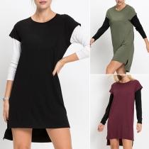 Fashion Contrast Color Long Sleeve Round Neck High-low Hem Mock two-piece Set T-shirt Dress