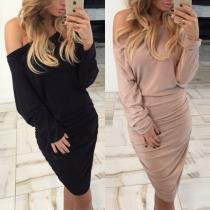 Sexy Off-shoulder Oblique Shoulder Long Sleeve Solid Color Slim Fit Dress