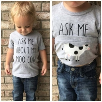 Casual Style Short Sleeve Round Neck Letters Printed Children T-shirt