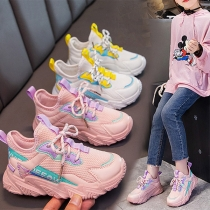 Fashion Contrast Color Round Toe Mesh Breathable Children Sports Sneakers