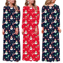 Fashion Long Sleeve Round Neck Snowman Pattern Christmas Dress