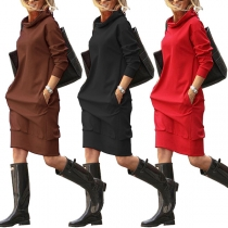 Casual Style Long Sleeve Solid Color Hooded Sweatshirt Dress