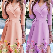 OL Style Long Sleeve Notched Lapel Printed Hem High Waist Slim Fit Dress