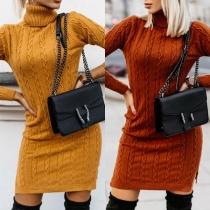 Fashion Solid Color Long Sleeve Turtleneck Slim Fit Sweater Dress