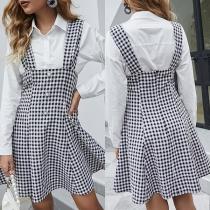 Fashion High Waist Front-button Plaid Suspender Skirt