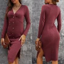 Sexy V-neck Slit Hem Long Sleeve Front-button Solid Color Slim Fit Dress