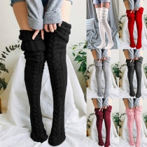 Simple Style Solid Color Over-the-knee Knit Stockings 2 Pair/Set