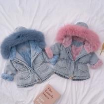 Denim Removable Fur Hooded Winter Coat Jacket for Kid
