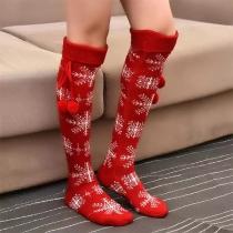 Cute Hairball Spliced Snowflake Pattern Knit Knee-length Christmas Stockings