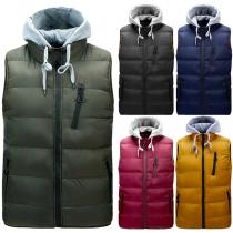 Fashion Contrast Color Detachable Hooded Man's Vest