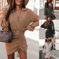 Sexy V-neck Irregular Drawstring Hem Long Sleeve Solid Color Dress