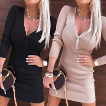 Sexy Zipper V-neck Long Sleeve Solid Color Slim Fit Dress