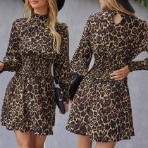 Fashion Long Sleeve Mock Neck Elastic High Waist Leopard Printed Dress