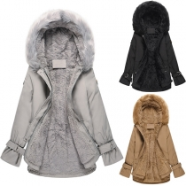 Fashion Solid Color Faux Fur Spliced Hooded Plush Lining Coat