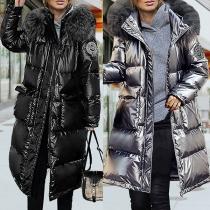 Fashion Faux Fur Spliced Hooded Long Sleeve Glossy Padded Coat