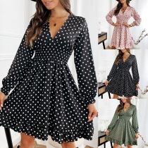 Sexy V-neck Long Sleeve High Waist Ruffle Hem Dots Printed Dress