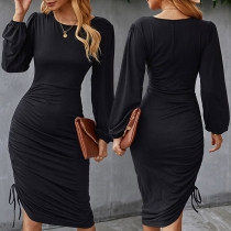 Fashion Lantern Sleeve Round Neck Side-drawstring Irregular Hem Slim Fit Dress