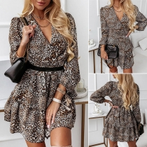 Sexy V-neck Long Sleeve High Waist Leopard Printed Dress