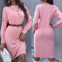 Fashion Solid Color Long Sleeve Round Neck Slim Fit Knit Dress