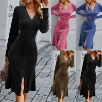 Sexy V-neck Long Sleeve Single-breasted Solid Color Slim Fit Dress