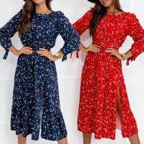 Fresh Style Long Sleeve Round Neck Slit Hem High Waist Printed Chiffon Dress