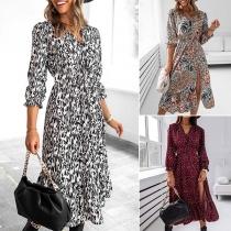 Sexy V-neck Long Sleeve High Waist Slit Hem Printed Dress