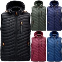 Fashion Solid Color Long Sleeve Detachable Hooded Man's Vest