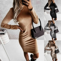 Simple Style Long Sleeve Mock Neck Solid Color Slim Fit Dress
