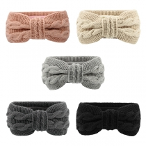 Sweet Style Solid Color Bow-knot Knit Head Band