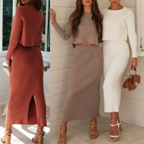Sexy Long Sleeve Round Neck Crop Top + Slit Skirt Length Skirt Knit Two-piece Set