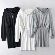 Fashion Solid Color Long Sleeve Hooded Slim Fit Sweatshirt Dress