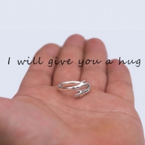 Sweet Style Love Hug Shaped Couple Ring