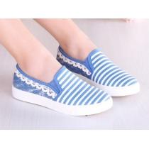 Navy Style Stripe Pattern Lace Trim Loafers